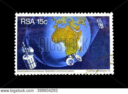 South Africa - Circa 1969 : Cancelled Postage Stamp Printed By South Africa, That Shows Earth And Sa