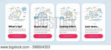 Set Of Love Icons, Such As Marriage Rings, Woman Love, Heart Symbols. Mobile App Mockup Banners. Hon