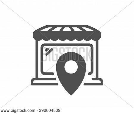 Market Location Icon. Wholesale Store Sign. Retail Marketplace Symbol. Quality Design Element. Flat