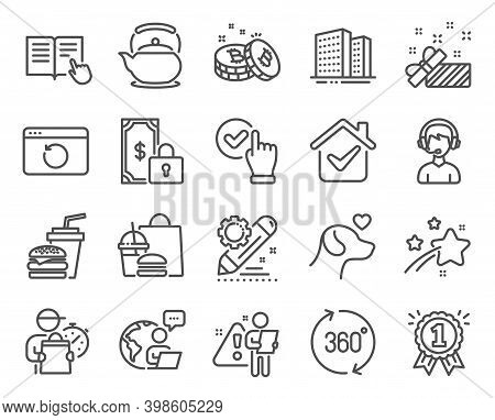 Business Icons Set. Included Icon As Present, Teapot, Bitcoin Signs. Checkbox, Reward, 360 Degrees S