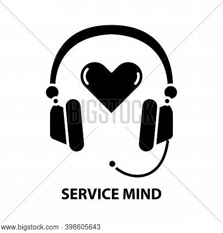 Service Mind Icon, Black Vector Sign With Editable Strokes, Concept Illustration