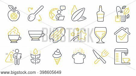 Set Of Food And Drink Icons, Such As Coffee Machine, Pecan Nut, Wine Glass Symbols. Cappuccino Cream