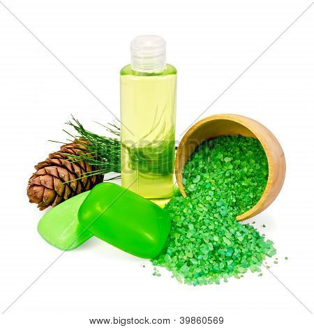Shower gel and soap with cedar cones