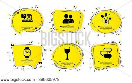 Love Champagne, Users And Wine Glass Icons Simple Set. Yellow Speech Bubbles With Dotwork Effect. Fa