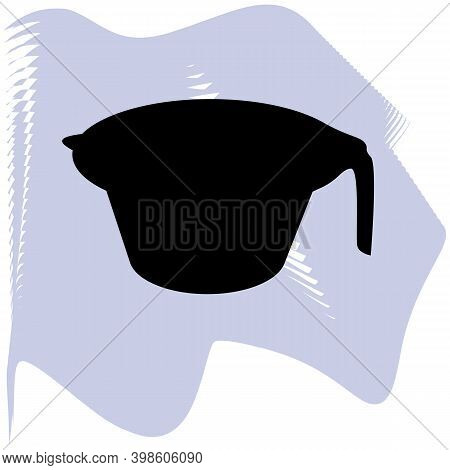 Color Mixing Plastic Hairdresser Bowl, Bowl For Hair Bleaching And Coloring. Black Bowl On Lilac Spo