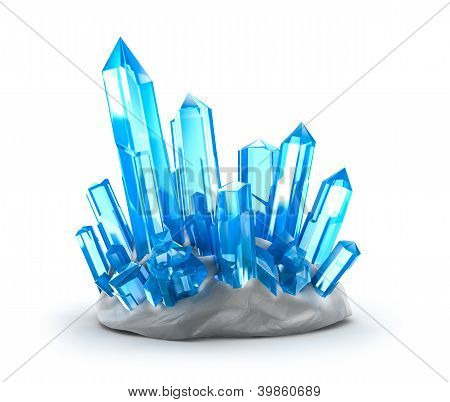 Crystals growing. Isolated on white
