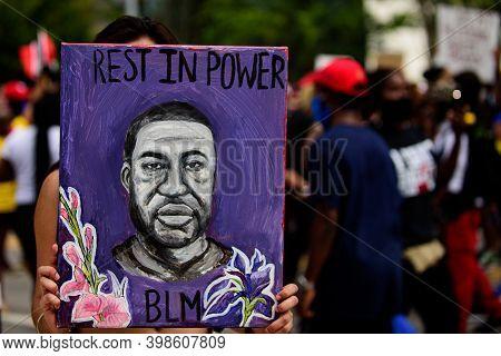 Orlando, Fl, Usa - June 19, 2020: George Floyd Poster. Blm. Rip George Floyd.