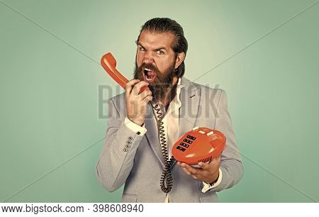 Be Somewhat More Techy. Businessman Talking On Vintage Phone. Male Talking On Landline Phone. Vintag