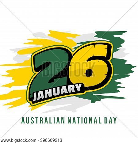 Typography Number Of 26 For 26 January When Celebrate Of Australia Day With Racing Number Concept De