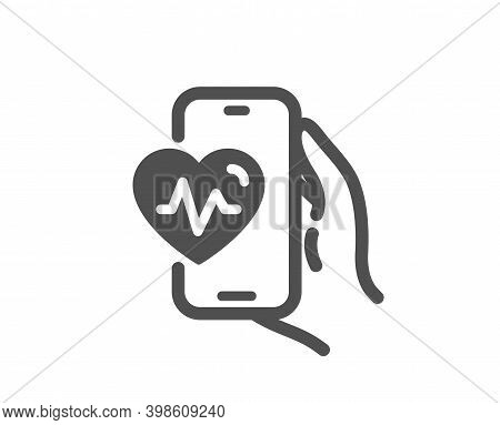 Cardio Training App Icon. Fat Burning Application Sign. Gym Fit Heartbeat Symbol. Quality Design Ele