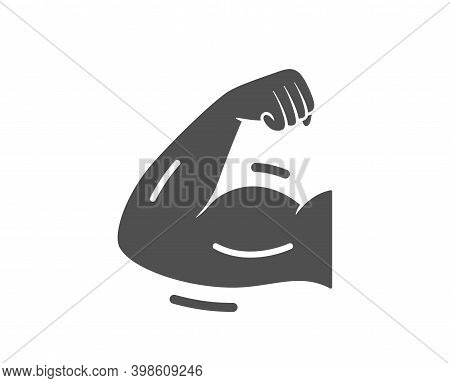 Strong Arm Icon. Strength Muscle Sign. Gym Fit Training Symbol. Quality Design Element. Flat Style S