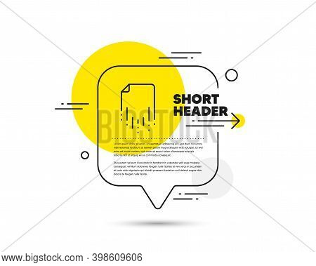 Recovery File Line Icon. Speech Bubble Vector Concept. Backup Data Sign. Restore Document Symbol. Re