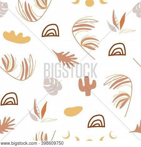 Tropical Boho Pattern. Botanical Earth Tone Boho Foliage Line Art Drawing. Abstract Plants, Rainbows