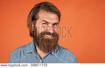 Pleasant Smile. Looking So Trendy. Confident And Handsome Brutal Man. Bearded Man. Young And Brutal.