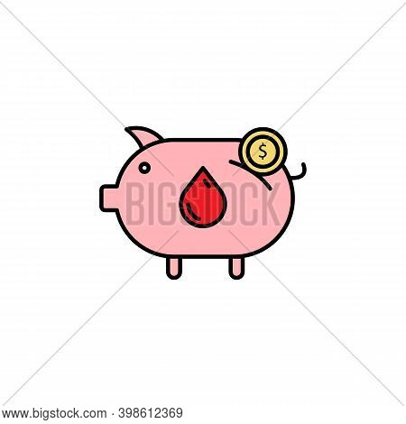 Piggy Bank, Blood Donation Line Icon. Signs And Symbols Can Be Used For Web, Logo, Mobile App, Ui, U