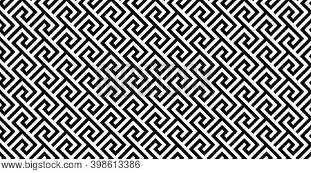 Greek Seamless Pattern. Old Ancient Ornament With Key Element. Abstract Black And White Geometric Li