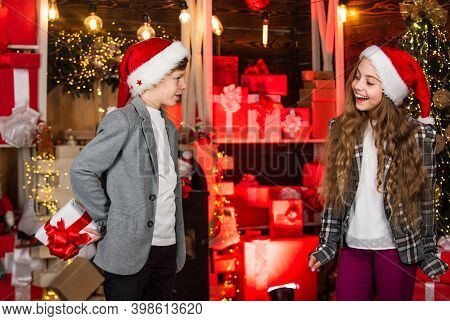 Take Really Good Care. Boy And Girl Santa Claus Hats. Kids Lovely Friends Meet Christmas Holiday. Jo
