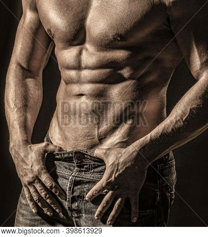 Muscular Sexy Man With Torso. Sensual Man With Naked Strong Ab. Muscular Torso Close Up. Torso Conce