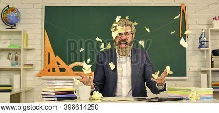 Teacher Destroying Paper File. Get Free Education. Destroy Profile Documents. Study Hard. School Edu