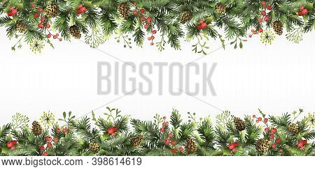 Christmas, New Year Border With Branches Of Christmas Tree, Holly Berries, Cones And Space For Text.