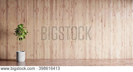 3d Illustration Of Luxury Interior Room On Sunny Day. Living Room With Wooden Paneling, Hardwood Flo