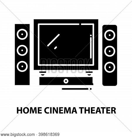 Home Cinema Theater Icon, Black Vector Sign With Editable Strokes, Concept Illustration