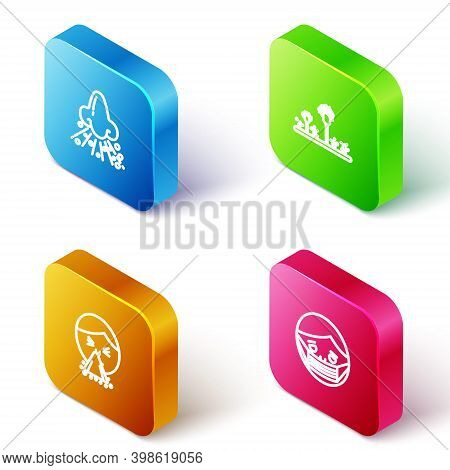 Set Isometric Line Runny Nose, Mold, Handkerchief To His Runny And Face In Protective Mask Icon. Vec