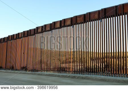New Border Wall On The California And Mexico Border Taken In Campo, Ca