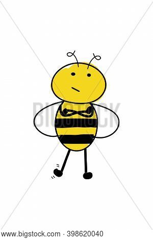 Cartoon Cute Bee Standing With Arms Crossed And Tapping Its Foot. Impatient And Annoyed Bee