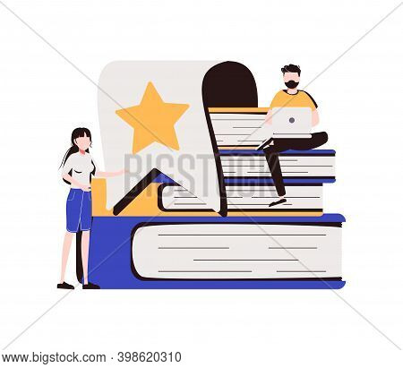 Bookmarks As Book Reading Progress Or Saved Browser Page Tiny Persons Concept. Paper Tabs And Tags F