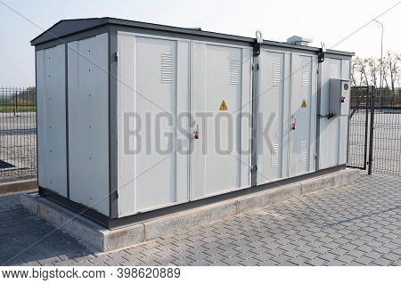 Transformer On The Street. Transformer Substation In A Closed Area, Voltage, Electricity