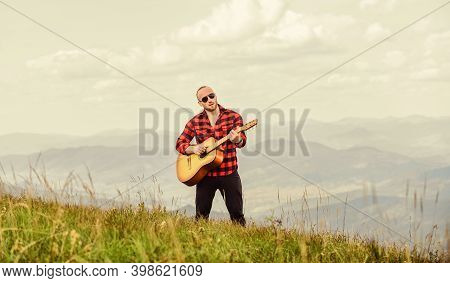 Music For Soul. Playing Music. Sound Of Freedom. Hiker Enjoy Nature. Acoustic Music. Musician Hiker