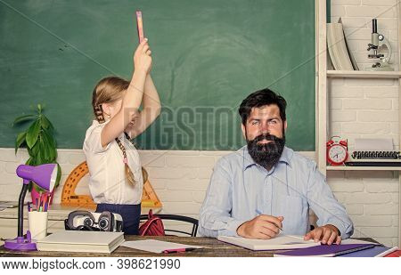Help Study. Discipline And Upbringing. Man Bearded Pedagogue Study Together With Kid. Study Is Fun.