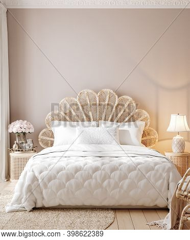 Luxury Feminine Bedroom,  Pink Wall. 3d Illustration