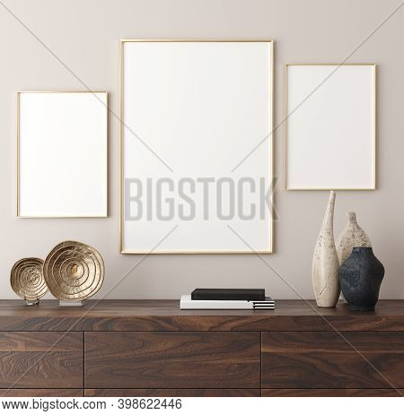 Poster Mockup In Modern Interior Background, 3d Illustration
