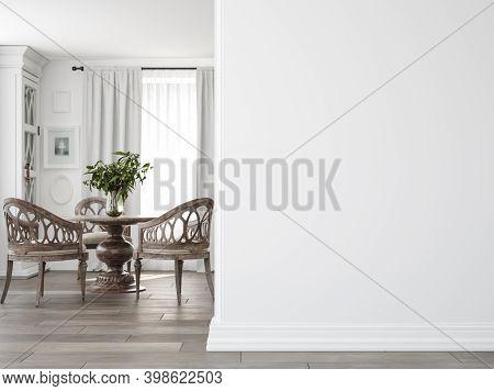 Light Farmhouse Living Room Interior With Dark Wooden Furniture, Wall Mockup, 3d Illustration