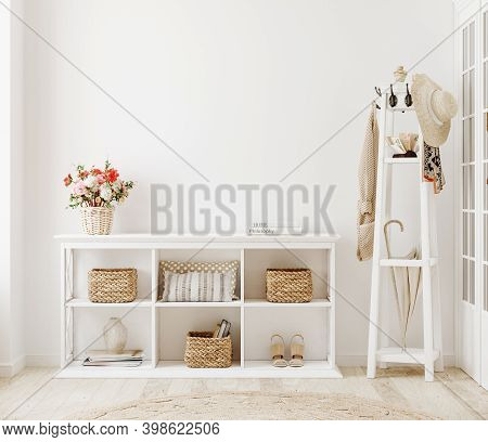 Wall Mockup In White Clear Hallway Interior, 3d Illustration