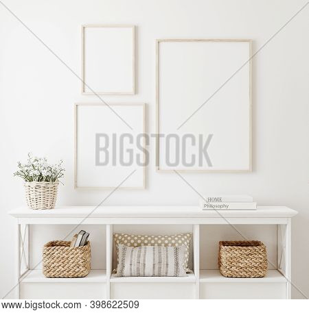 Poster Frame Mockup In White Clear Hallway Interior, 3d Illustration