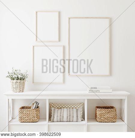 Poster Frame Mockup In White Clear Hallway Interior, 3d Illustration