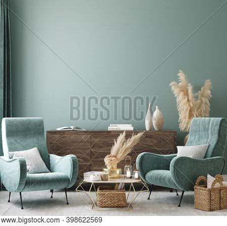 Home Interior Mock-up With Turquoise Armchairs, Table And Pampas, 3d Illustration