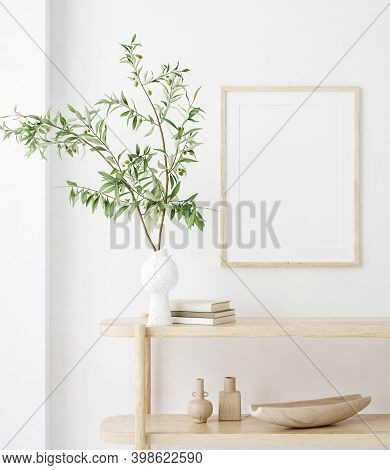 Mock Up Frame In Home Interior Background, White Room With Natural Wooden Furniture, Scandi-boho Sty