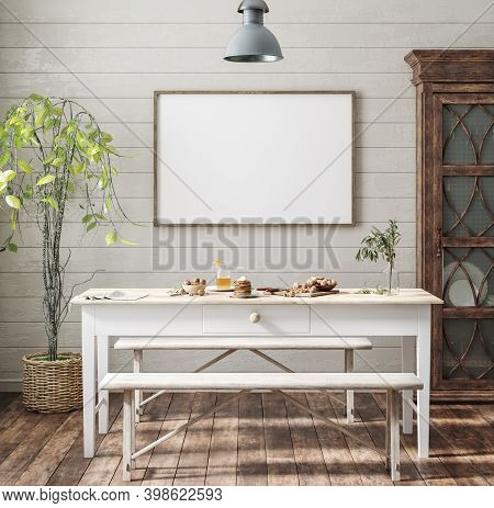 Mock Up Poster Frame In Kitchen Interior, Farmhouse Style, 3d Illustration