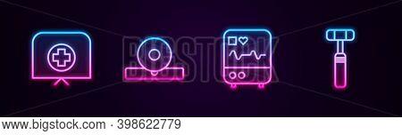 Set Line Nurse Hat With Cross, Otolaryngological Head Reflector, Monitor Cardiogram And Neurology Re