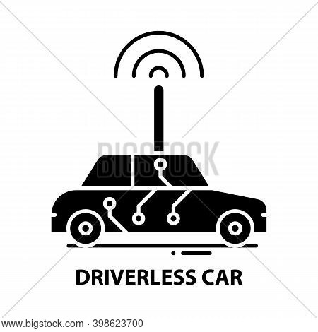 Driverless Car Icon, Black Vector Sign With Editable Strokes, Concept Illustration