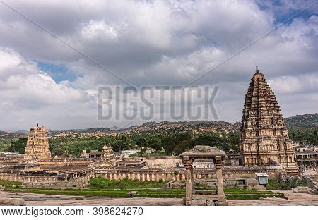 Hampi, Karnataka, India - November 4, 2013: Virupaksha Temple Complex. Wide Landscape Showing Entire