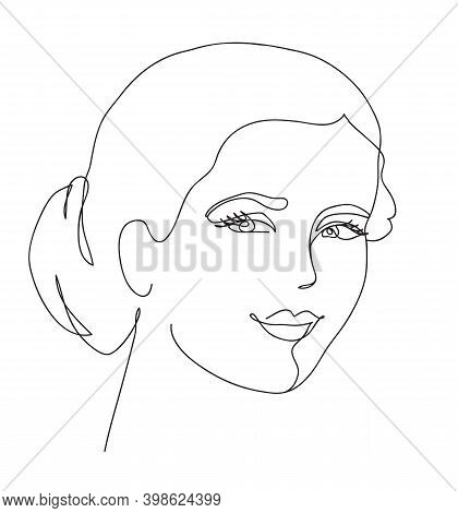 Beautyfull Girl Face. Attractive Young Woman Portrait . Black And White Vector Illustration
