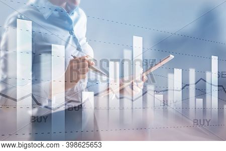 Double Exposure Stock Market Chart. Buy And Sell Finacial Concept.