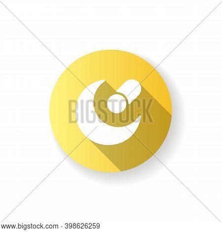 Night Mode App Yellow Flat Design Long Shadow Glyph Icon. Reducing Screen Brightness. Battery Saver.