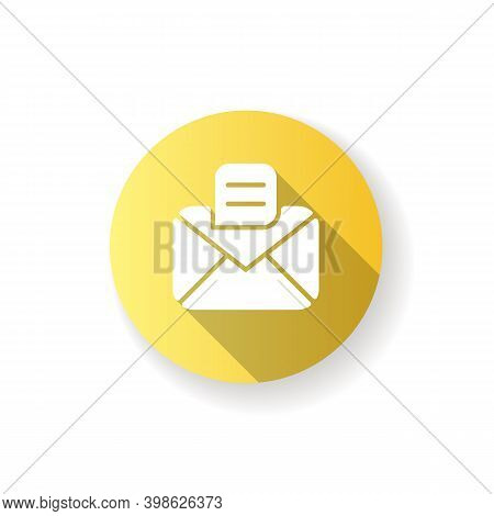 Message App Yellow Flat Design Long Shadow Glyph Icon. Texting And Chat Application. Messenger Conve
