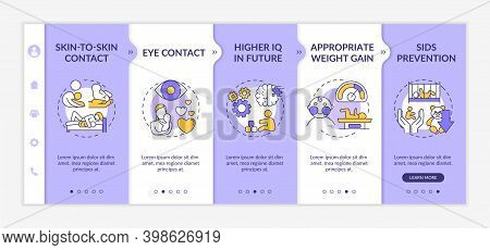 Breastfeeding Pros Onboarding Vector Template. Skin To Skin Contact With Children. Eye Contact. Resp